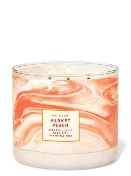 1 Bath /& Body Works PEACH BELLINI White Barn 3-Wick Candle Large