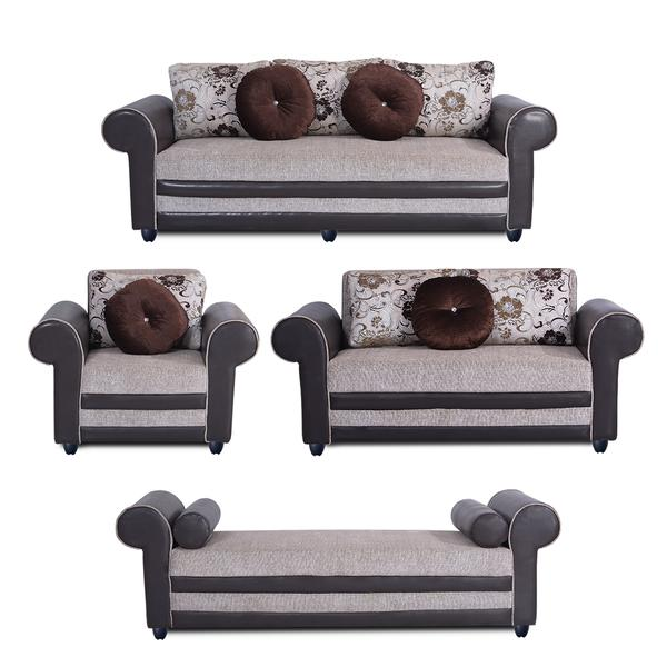 Bharat Lifestyle Alex Fabric & Leatherette Cream Brown Sofa Set (3+2+1+D)