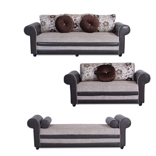 Bharat Lifestyle Alex Fabric 3 + 2 + D Cream Sofa Set