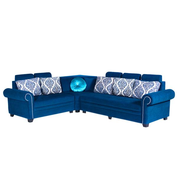 Bharat Lifestyle Alex Corner Fabric 6 Seater (Finish Color - Blue)