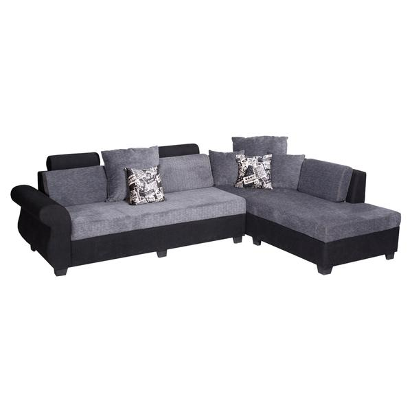 Bharat Lifestyle Alisa Corner Fabric 6 Seater (Finish Color - Black Grey)