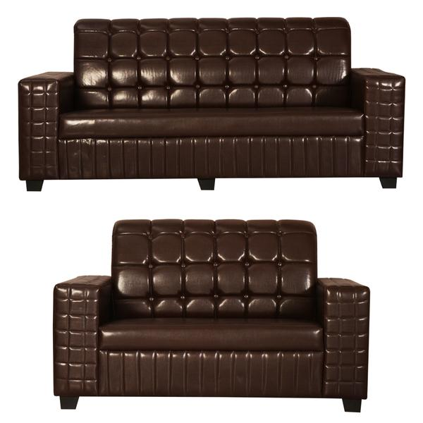 Bharat Lifestyle Apollo Leatherette 3 + 2 Brown Sofa Set
