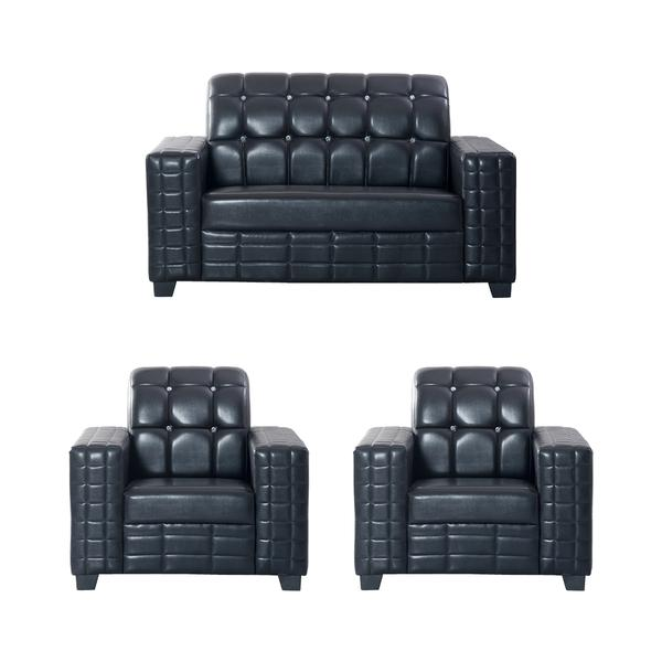 Bharat Lifestyle Black Diamond Leatherette 2 + 1 + 1 Black Sofa Set