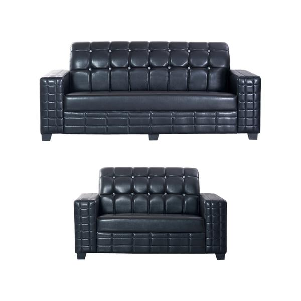 Bharat Lifestyle Black Diamond Leatherette 3 + 2 Black Sofa Set