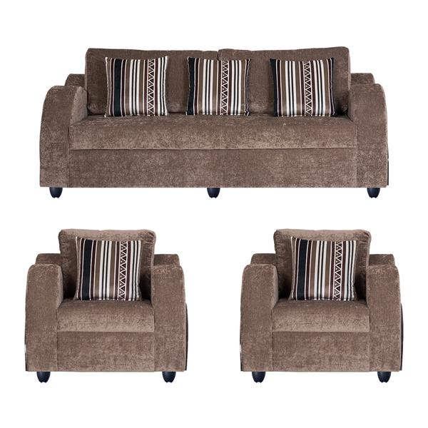 Bharat Lifestyle Crystal Cream Brown Fabric 3+1+1 Sofa Set