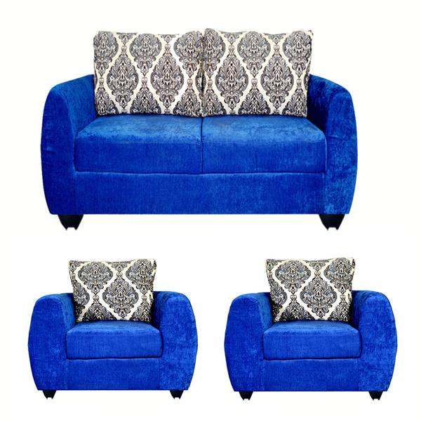 Bharat Lifestyle Delight Fabric 2 + 1 + 1 Sofa Set (Color - Blue)