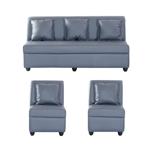 Bharat Lifestyle Delta Leatherette 5 Seater Sofa Set 3+1+1 (Grey)