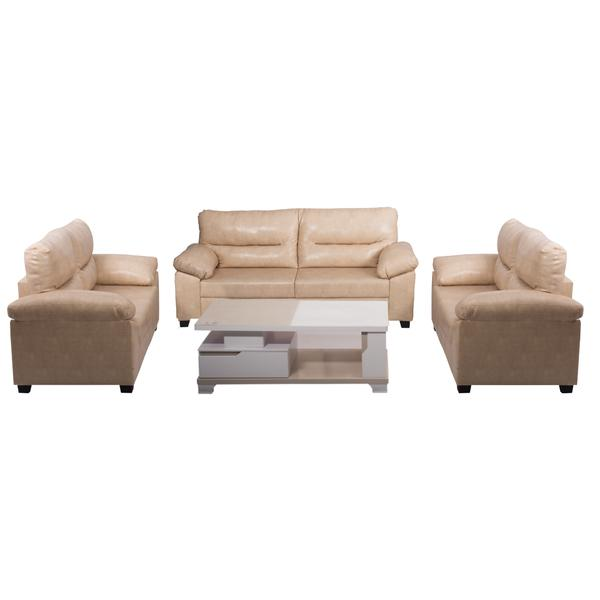Bharat Lifestyle Legend Leatherette Cream 7 Seater Sofa Set (3+2+2).
