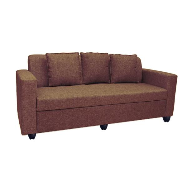 Bharat Lifestyle Lexus Fabric 3 Seater (Finish Color - Dakr Brown)