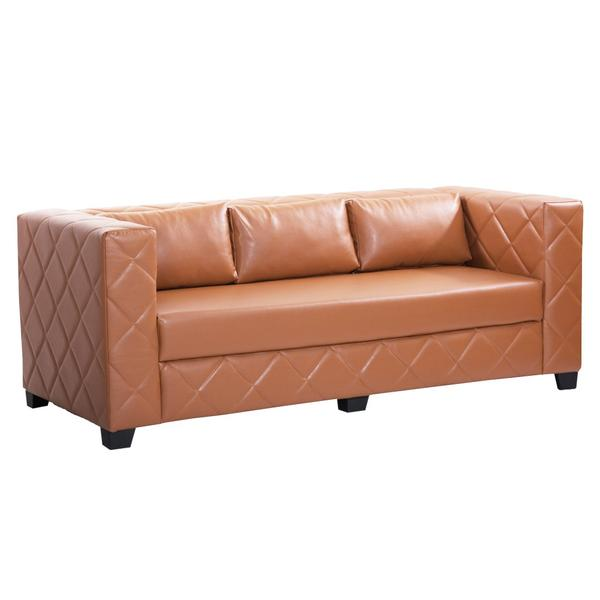 Bharat Lifestyle Martin Leatherette 3 Seater Sofa (Color-Rust Brown)