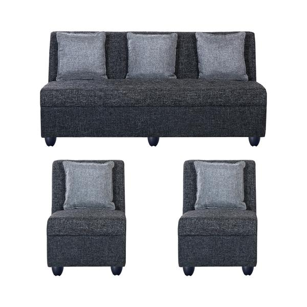 Bharat Lifestyle New Delta Fabric 3 + 1 + 1 Sofa Set (Color - Dark Grey)