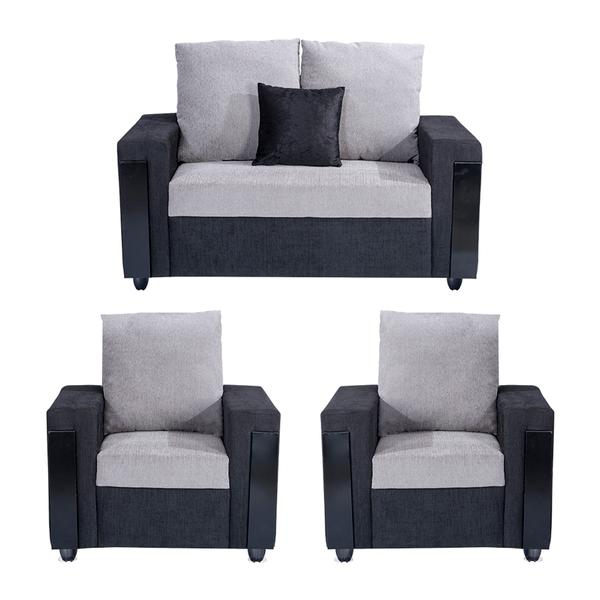 Bharat Lifestyle Ocea Fabric 2 + 1 + 1 Black Grey Sofa Set