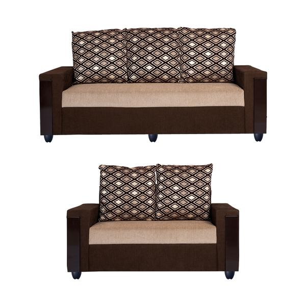 Bharat Lifestyle Ocea Fabric 3 + 2 Cream Brown Sofa Set