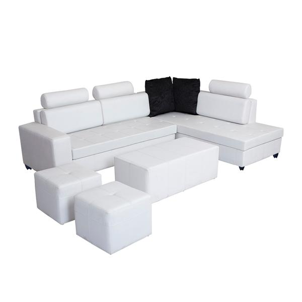 Bharat Lifestyle Orchid Leatherette Sectional Sofa Set (Finish Color - White)