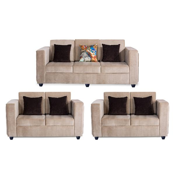 Bharat Lifestyle Paradise Premium Fabric 3 + 2 + 2 Cream Sofa Set