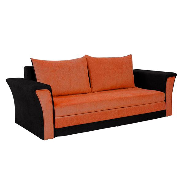 Bharat Lifestyle Leo Fabric Sofa Cum Bed (Orange and Black)