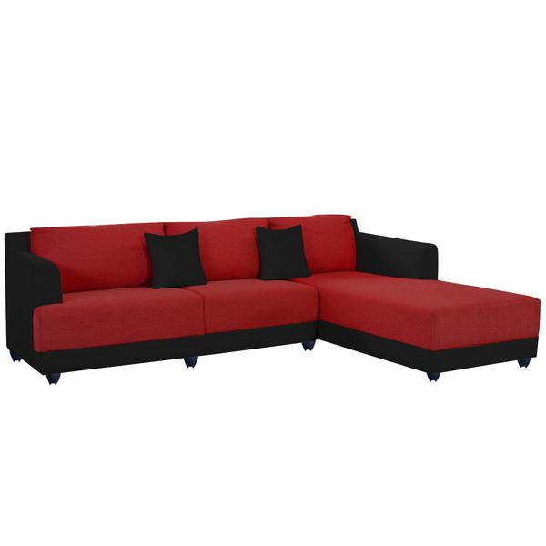 Bharat Lifestyle Marina Fabric 6 Seater Sofa  (Finish Color - Red and Black)
