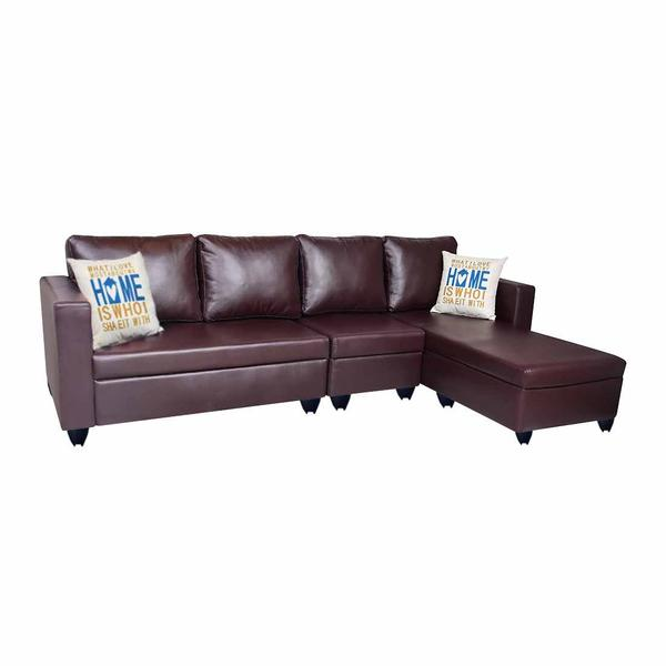 Bharat Lifestyle Deco Leatherette 6 Seater Sofa  (Finish Color - Brown)