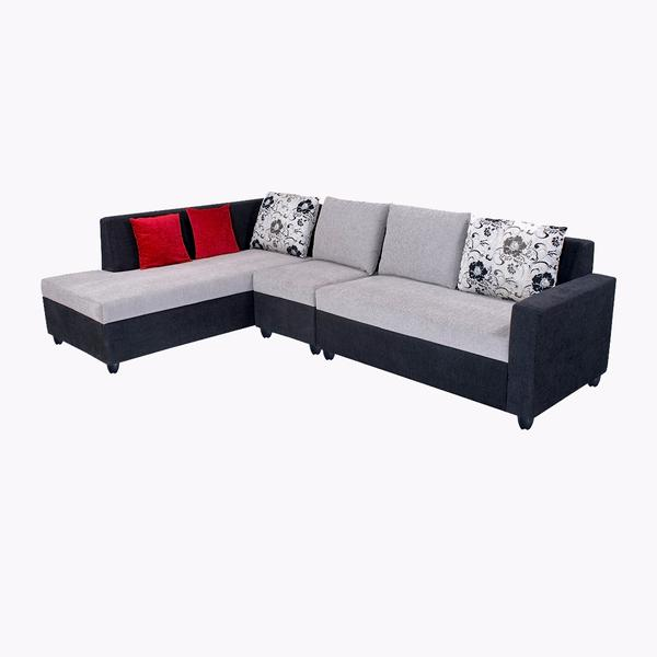 Bharat Lifestyle Nano L-Shape Fabric Sofa Set Black Grey (2+1+D)- Left Facing