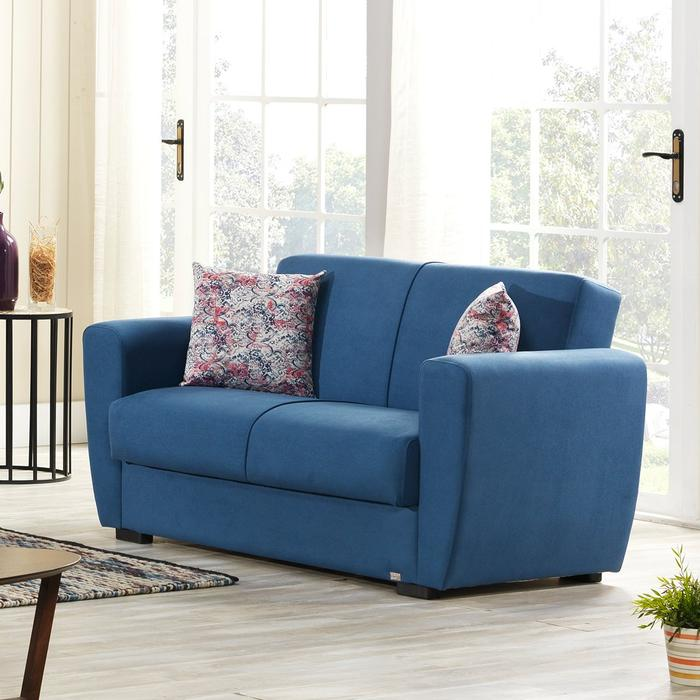 Buy Dolce Fabric Sofa Bed 2 Seater With Storage Blue