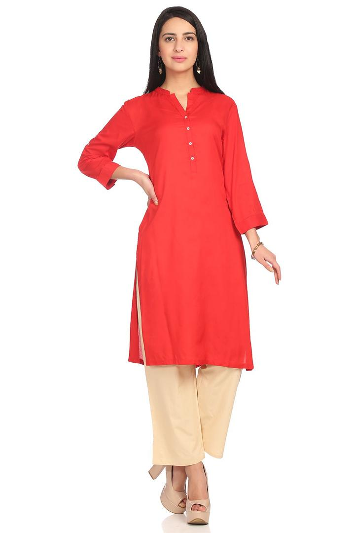 Red Straight Viscose Kurta - CORE13937SS18RED