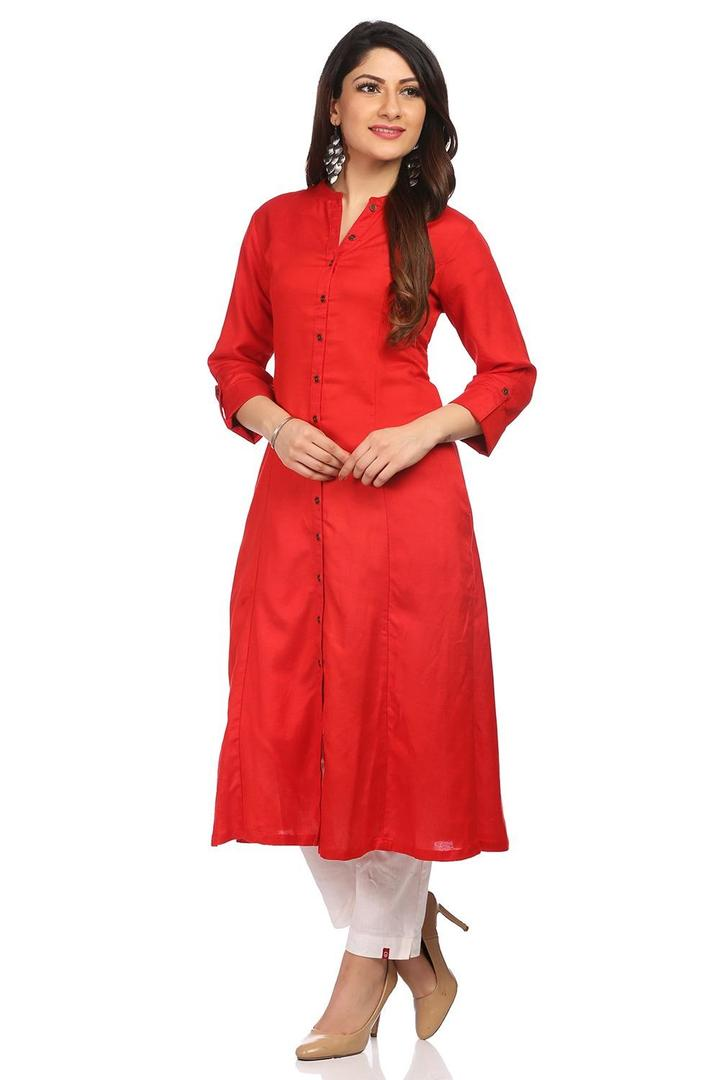 Red Cotton Rayon & Linen Front Open Kurta - CORE13