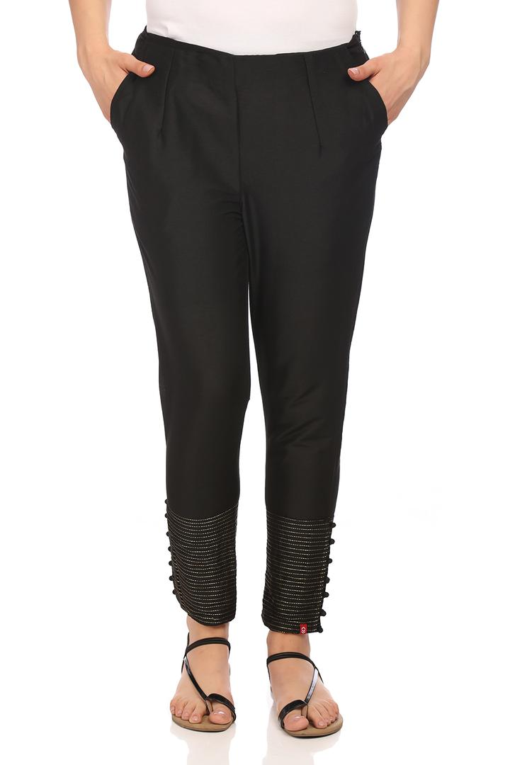 Black Polyester Slim Pants - CORE14386SS18BLK