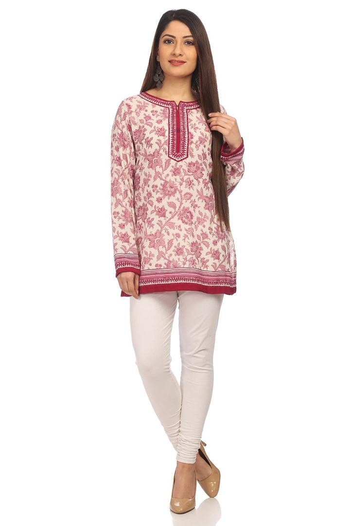 Mauve Straight Poly Cotton Kurti - CREPEKU13577AW1