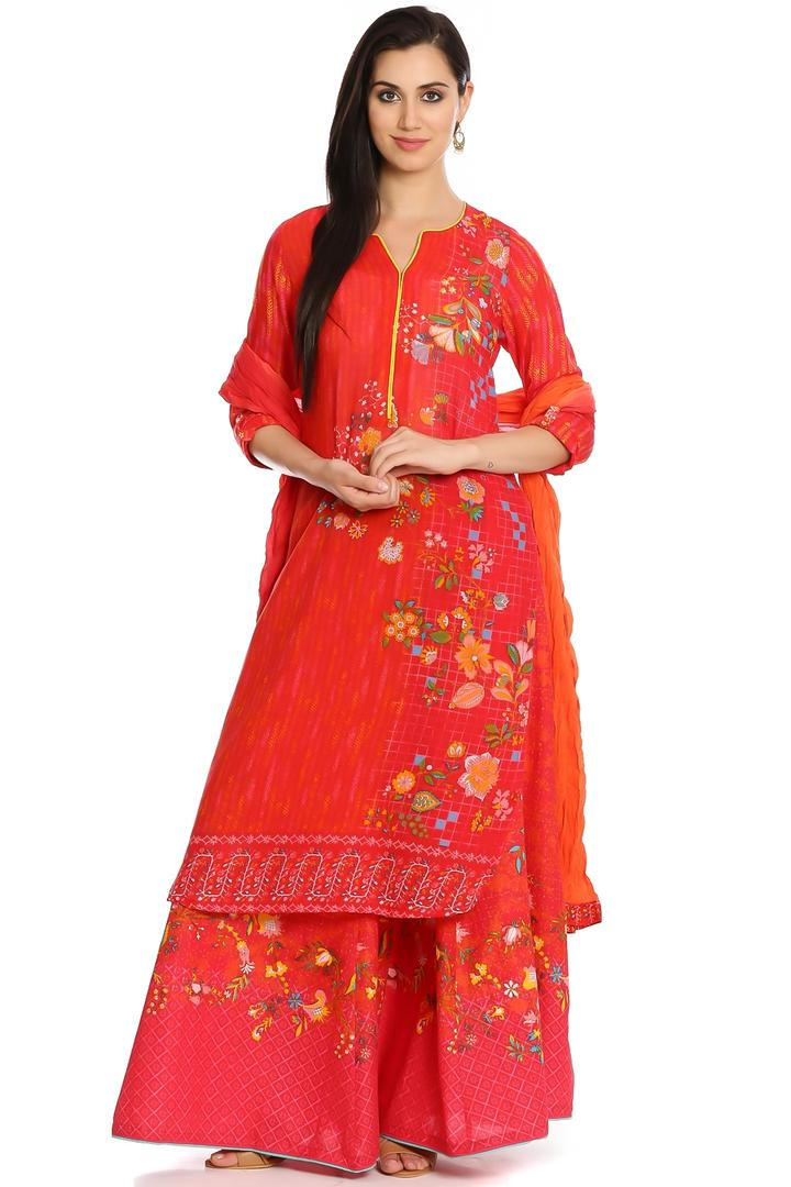 Red Cotton Straight Kurta - ENCHANTE12553RED