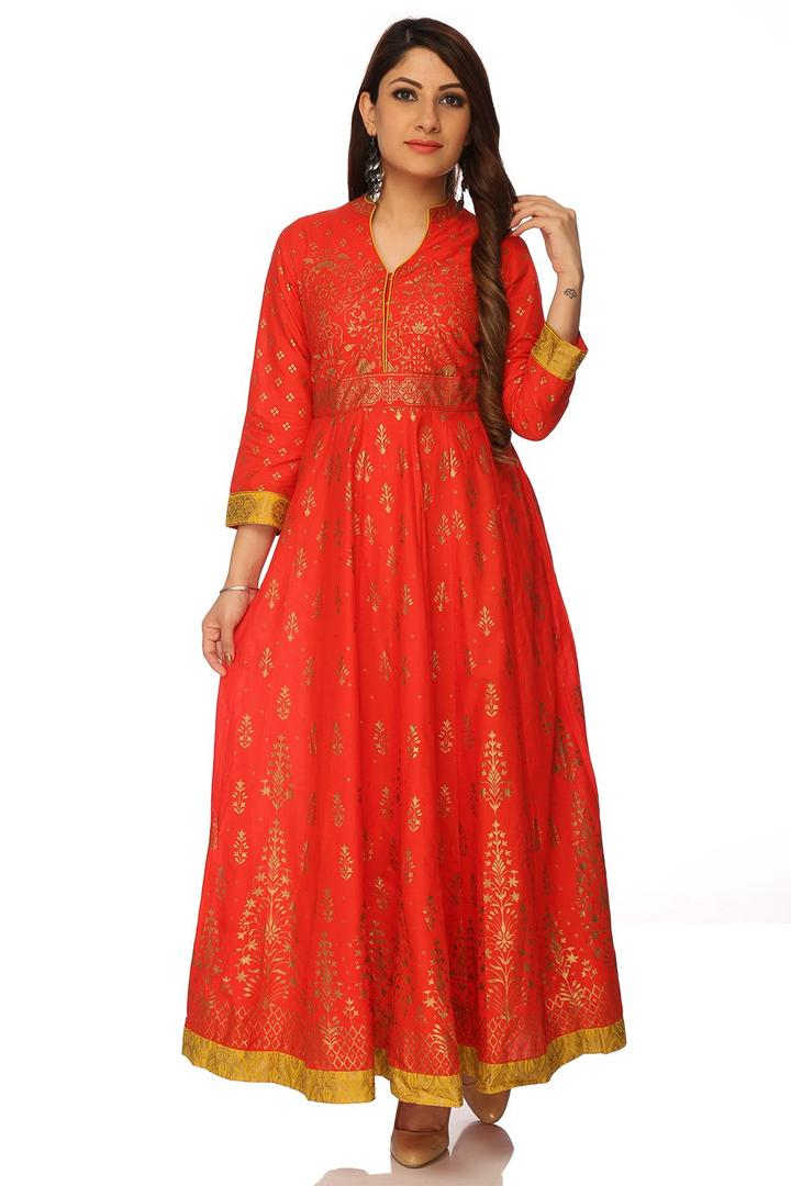 Orange Anarkali Cotton Kurta - FESTIVE12981AW17ORG