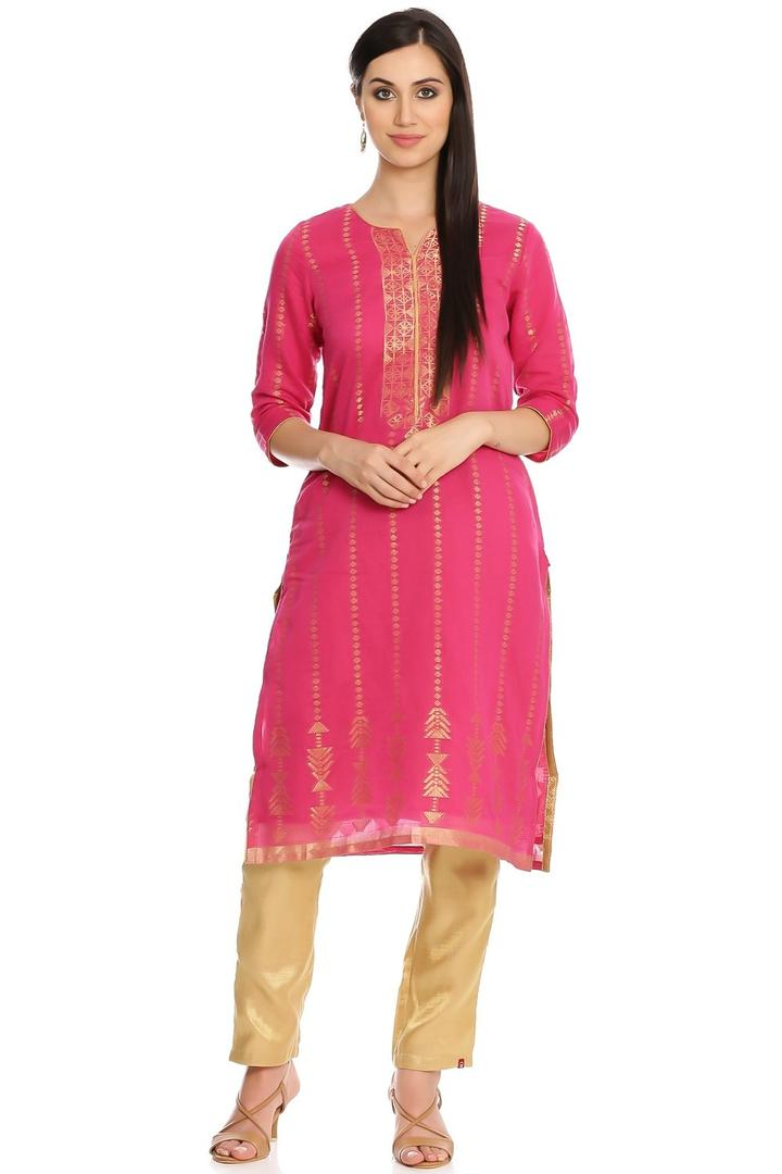 Fuchsia Straight Poly Metallic Cotton Kurta - FEST
