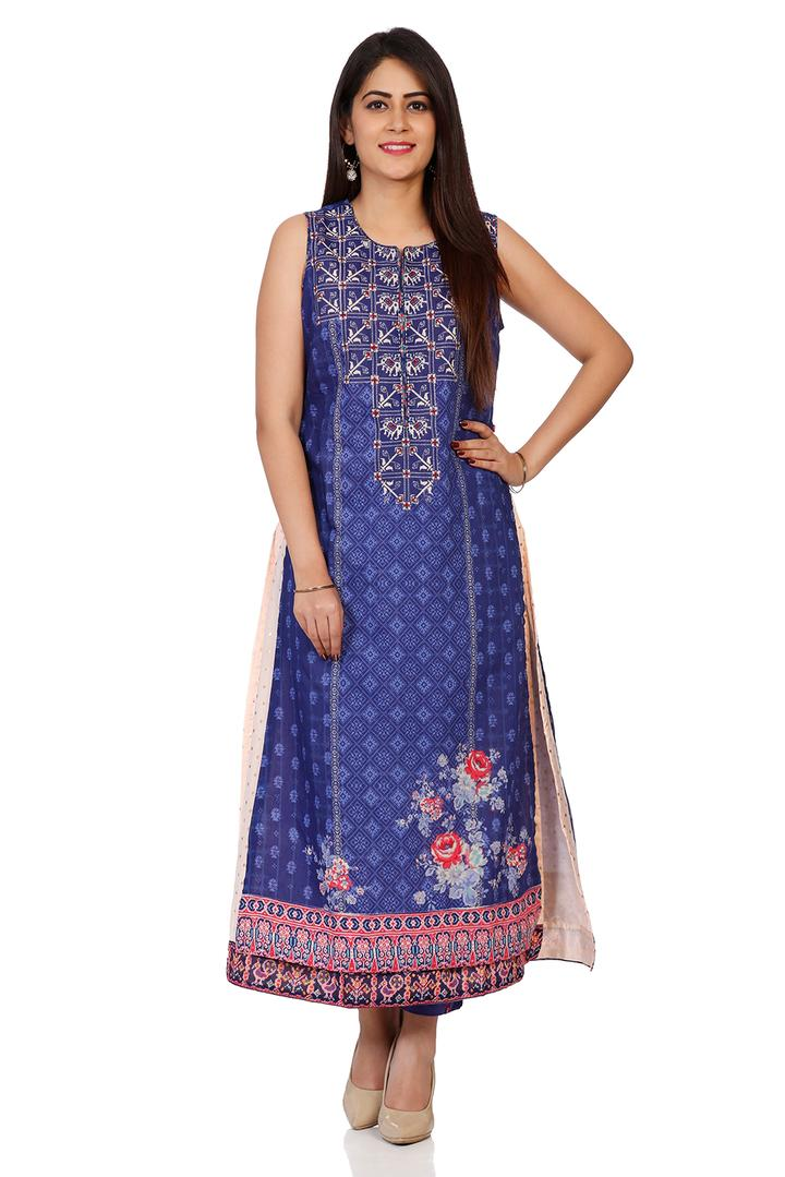 Indigo Art Silk Straight Kurta - INDIGO14141AW18IN