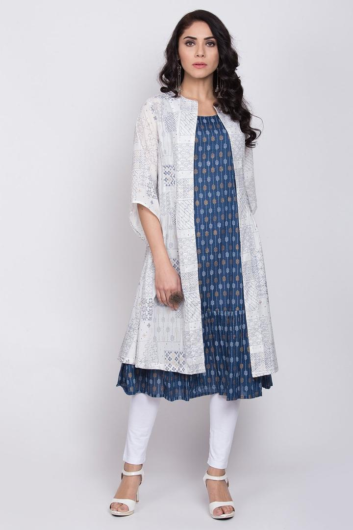 White And Indigo Cotton Front Open Kurta