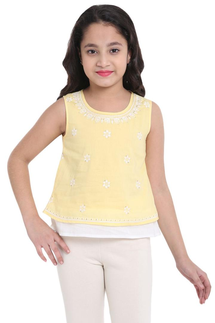 Yellow Straight Cotton Top - KW2586SS18YEL