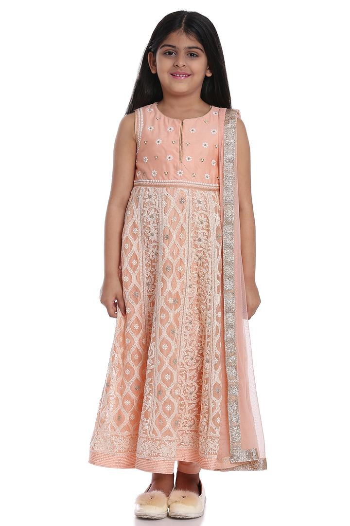 Peach Anarkali Cotton Silk Suit Set - KW2593SS18PC