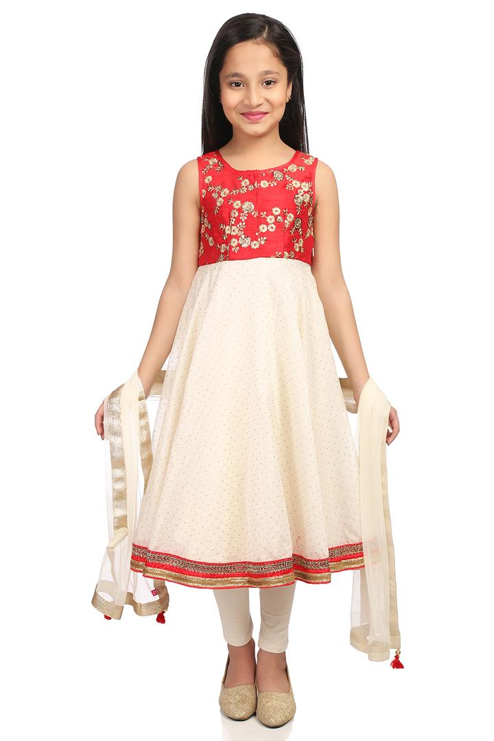 Red & Off White Anarkali Poly Cotton & Viscose Sui