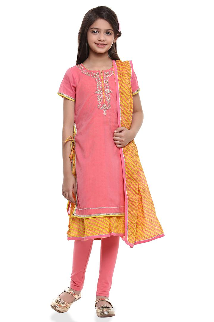 Pink Straight Poly Cotton Suit Set - KW2639SS18PNK
