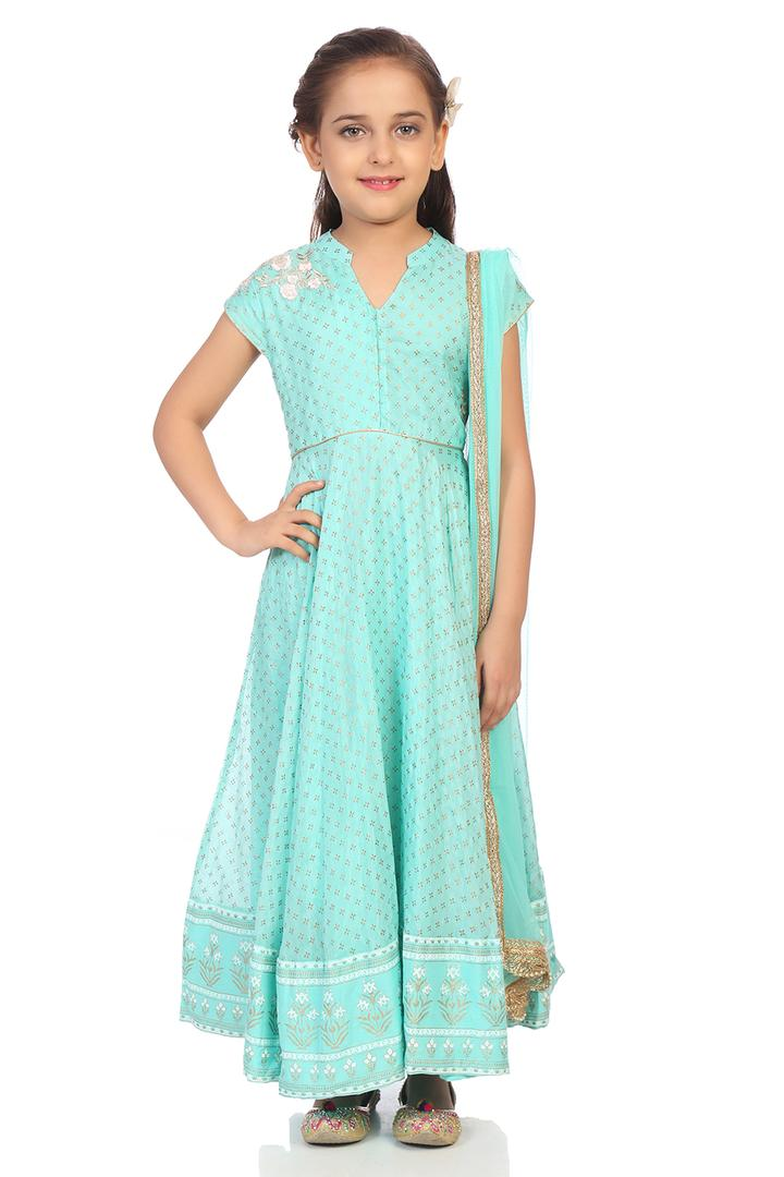 Turquoise Cotton Silk Anarkali Suit Set - KW3034SS