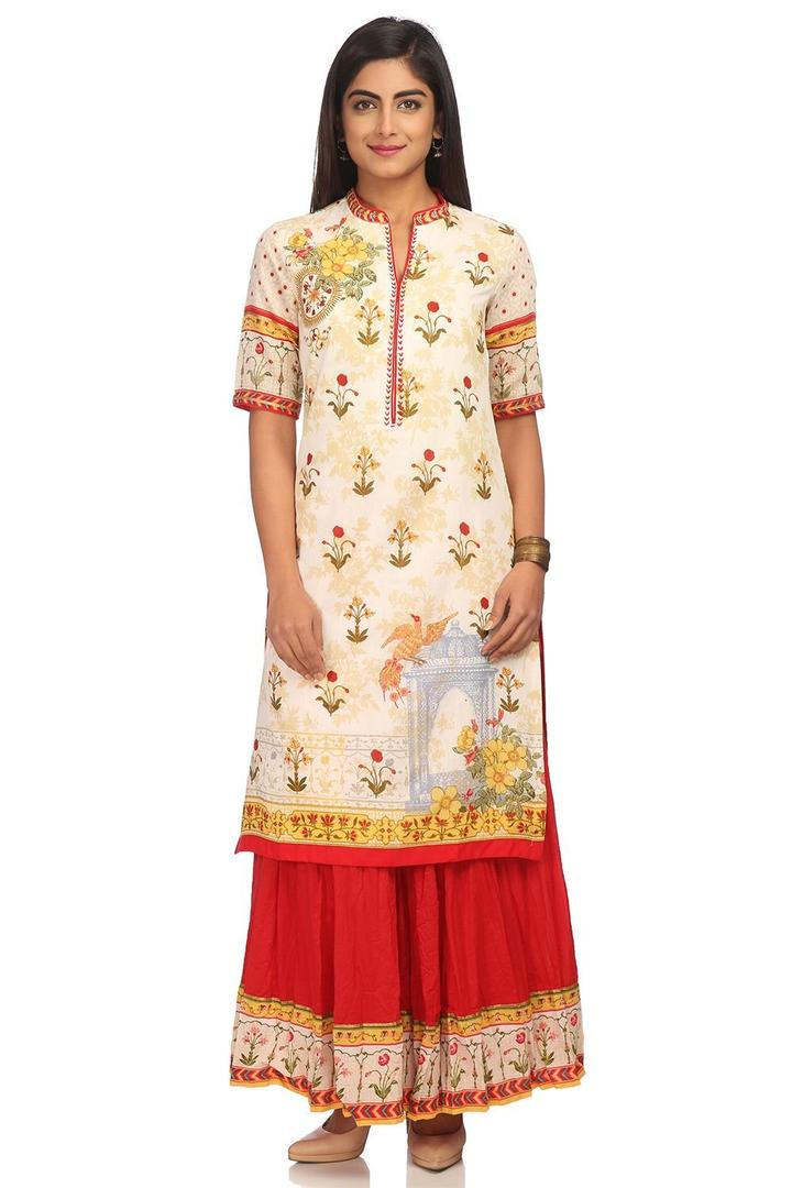 Beige Straight Poly Cotton Kurta - MUGHALD13916SS1