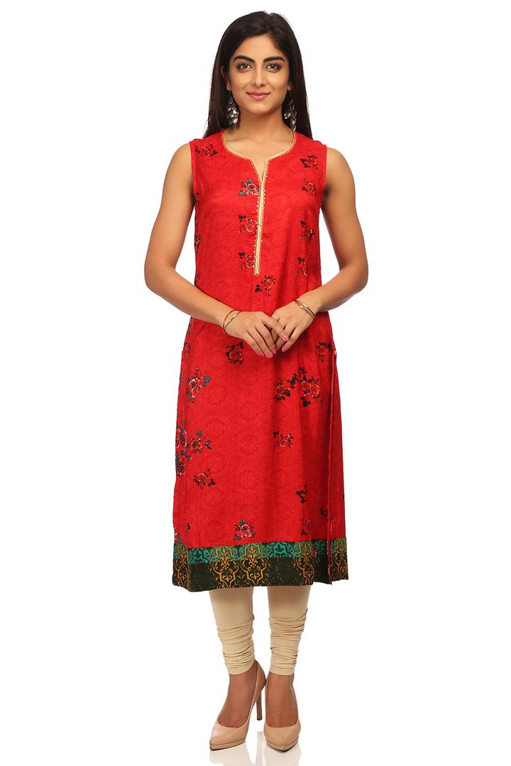Red Straight Viscose Kurta - PLUME13166AW17RED