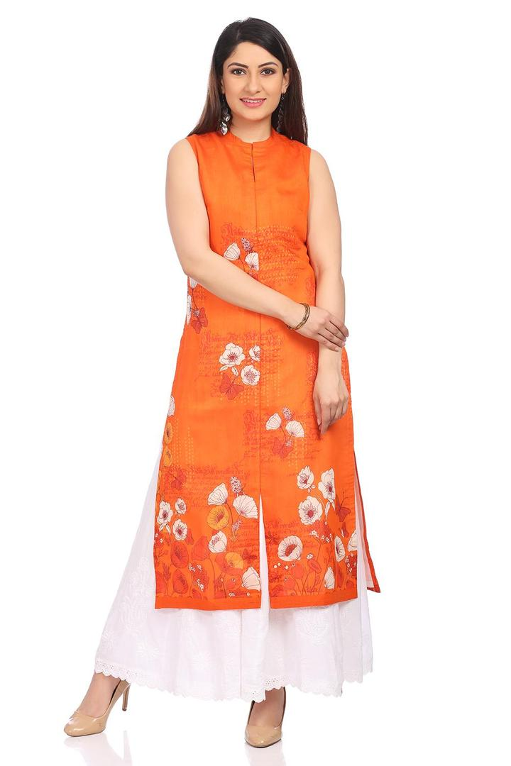 Orange Straight Poly Cotton Kurta - PRETTYP13818SS