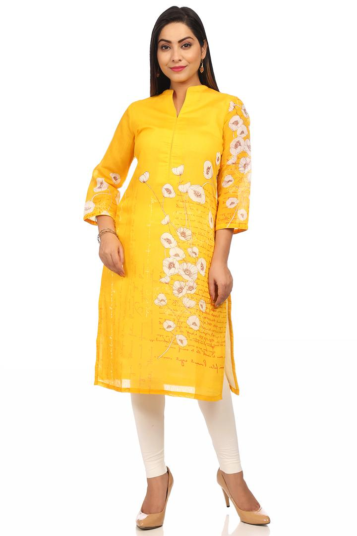 Yellow Straight Art Silk & Cotton Kurta - PRETTYP1