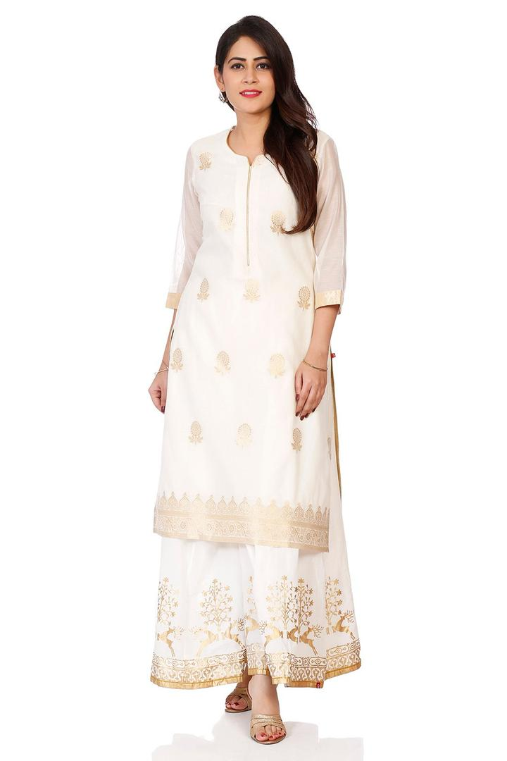 Off White Poly Metallic Cotton Straight Kurta - PU