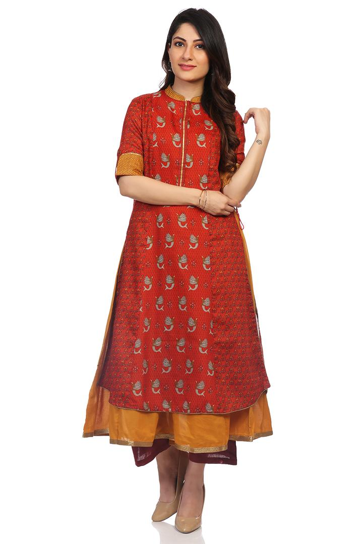 Rust Art Silk Flared Kurta - SARTHI14424AW18RUS