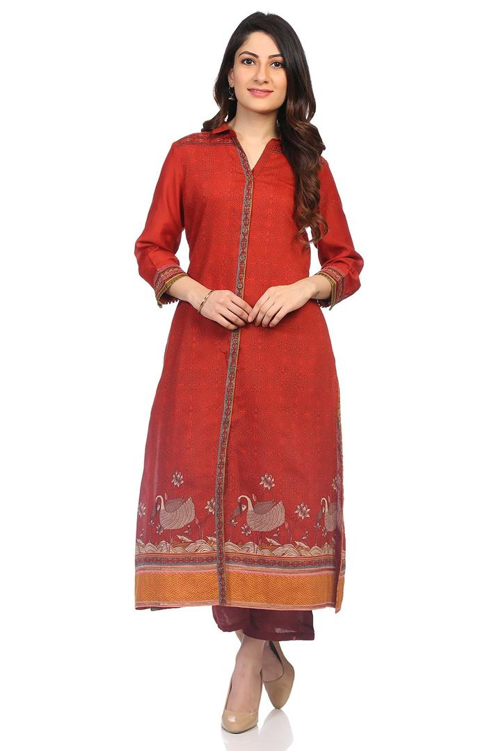 Rust Art Silk Straight Kurta - SARTHI14427AW18RUS