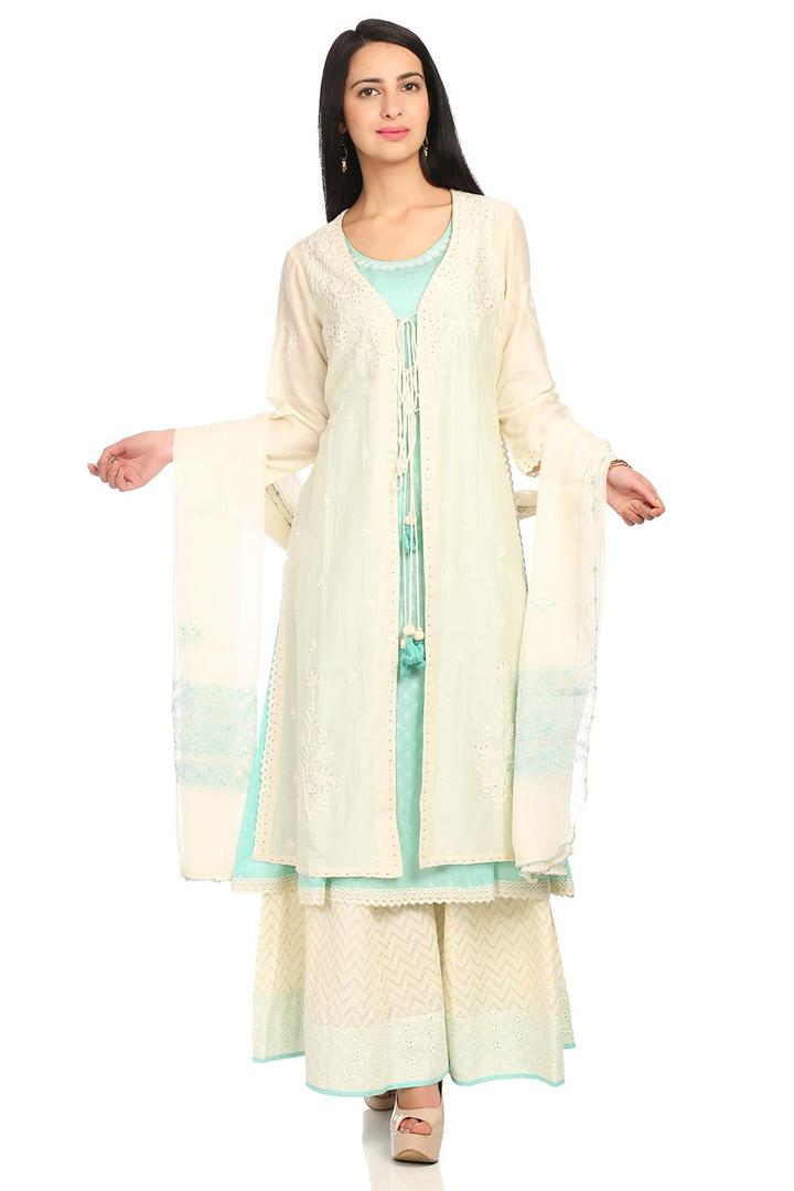 Cream Front Open Cotton Silk Suit Set - SKD5312SS1