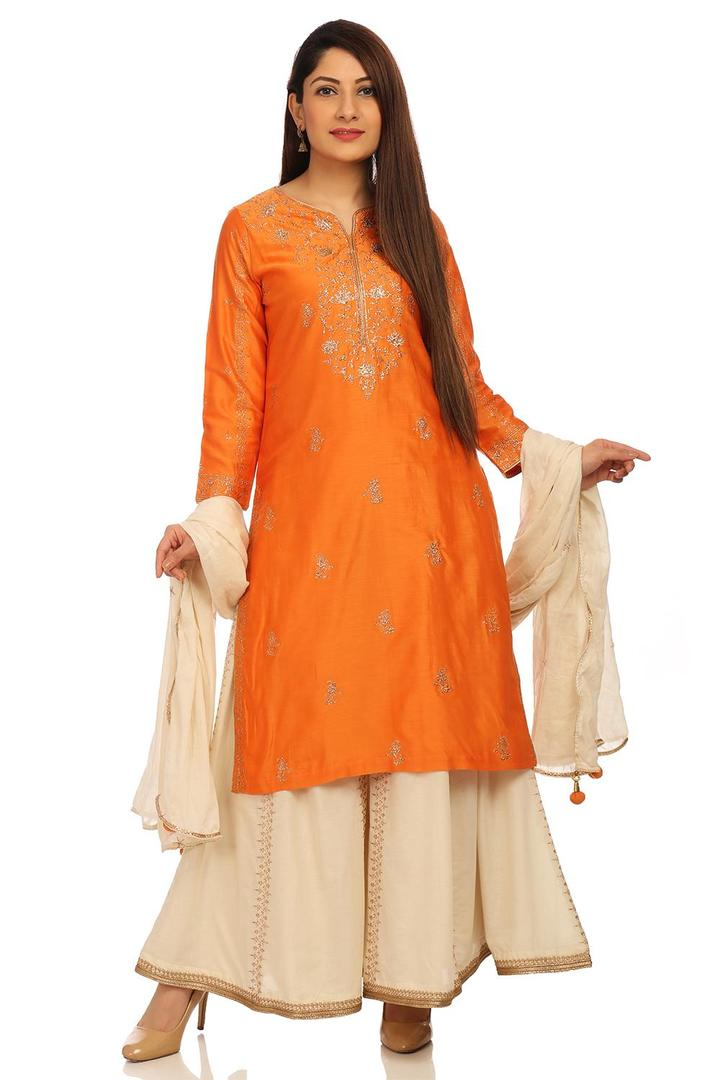 Orange Straight Cotton Silk Suit Set - SKD5374SS18