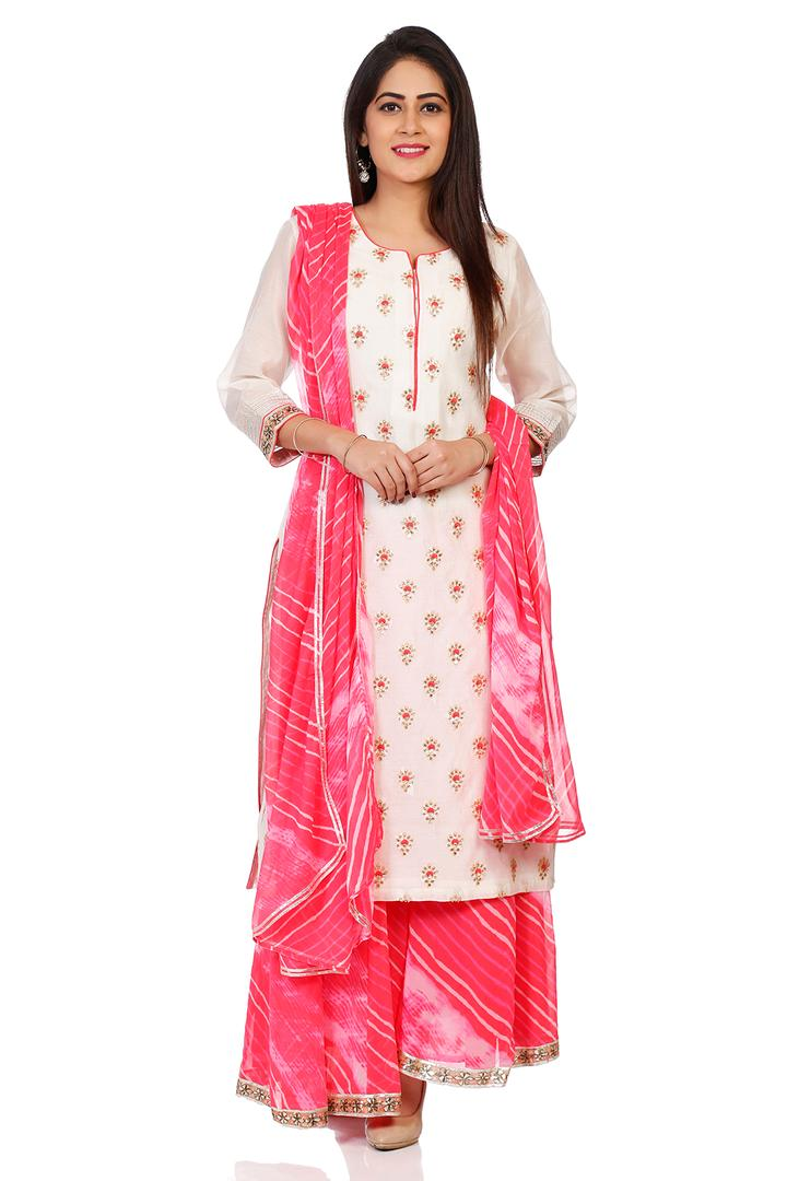 Beige Straight Viscose & Cotton Suit Set - SKD5413