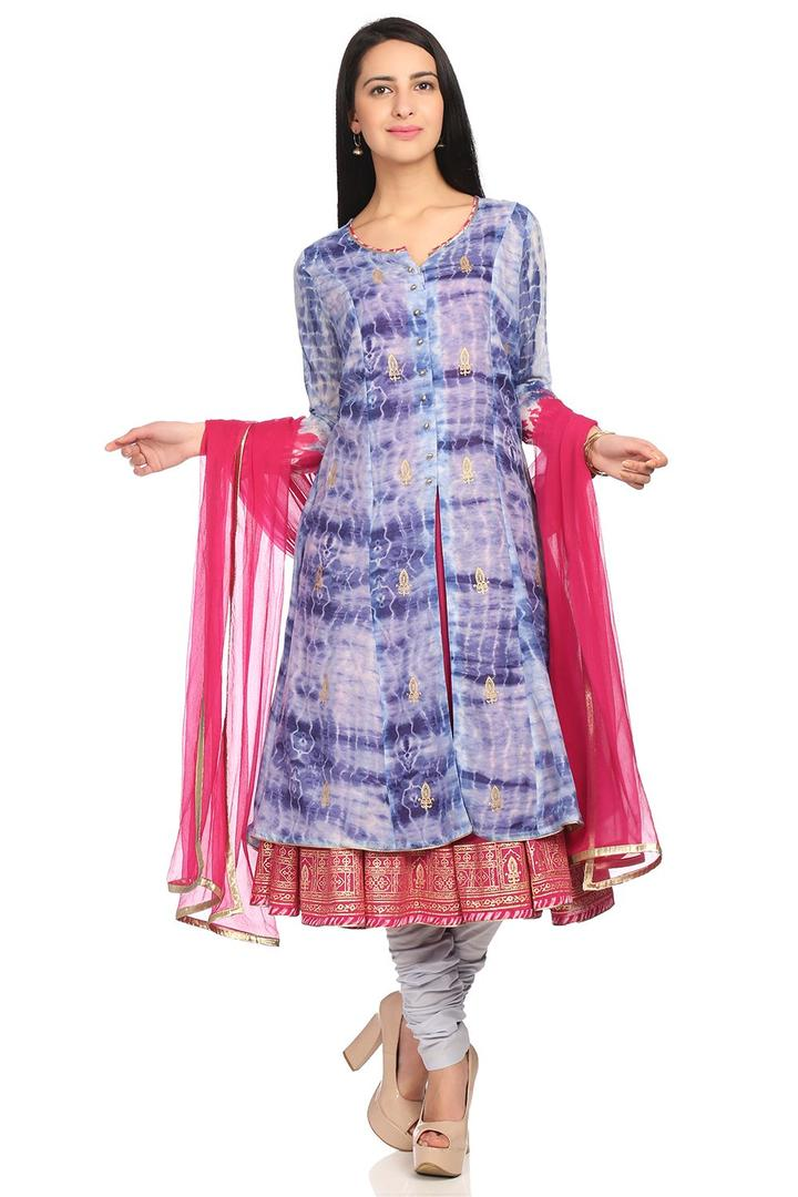 Blue Flared Cotton Suit Set - SKD5443SS18BLU