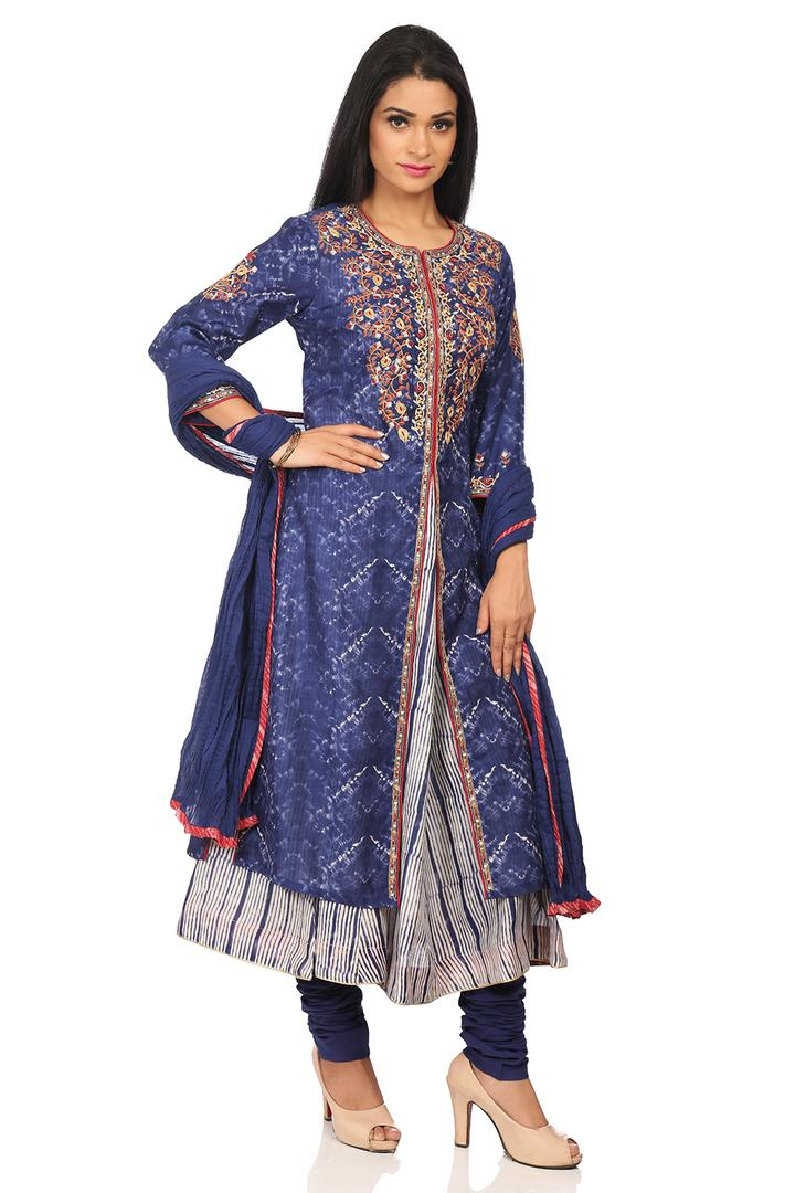 Indigo Art Silk Straight Suit Set - SKD5550AW18IND